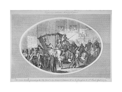 The Lord Mayor Presenting the City Sword to King George III at Temple Bar, London, 1789-AW Warren-Giclee Print