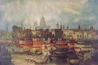 The Lord Mayor's Procession by Water to Westminster, London, C1820--Giclee Print