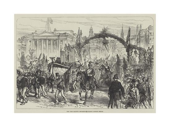 The Lord Mayor's Procession Crossing London Bridge--Giclee Print