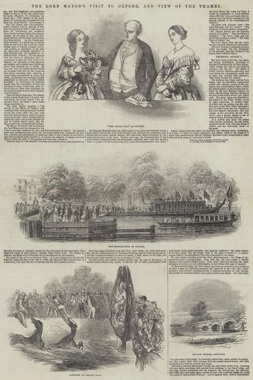The Lord Mayor's Visit to Oxford, and View of the Thames--Giclee Print