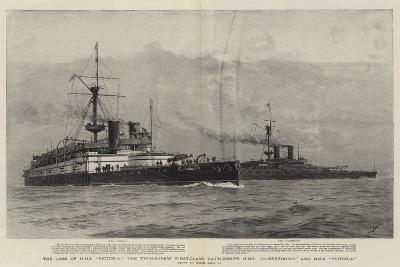 The Loss of HMS Victoria, the Twin-Screw First-Class Battleships HMS Camperdown and HMS Victoria-Joseph Nash-Giclee Print