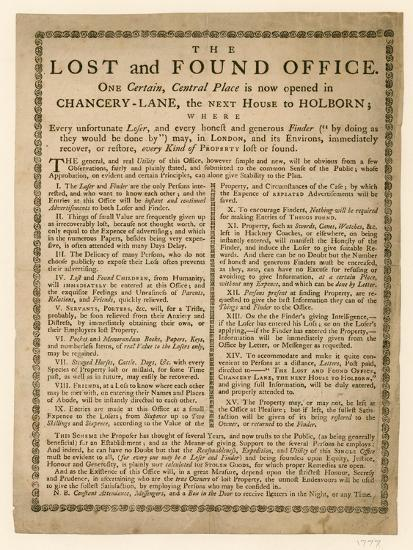 The Lost and Found Office, Chancery Lane, London--Giclee Print