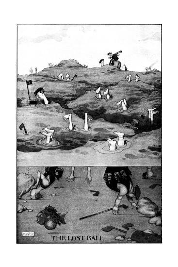 The Lost Ball - Heath Robinson Cartoon-William Heath Robinson-Giclee Print
