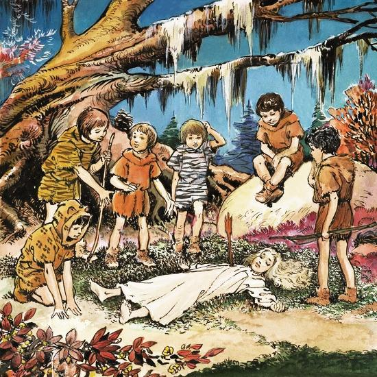 The Lost Boys' Concern for Injured Wendy, Illustration from 'Peter Pan' by J.M. Barrie-Nadir Quinto-Giclee Print
