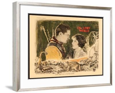 THE LOST WORLD, l-r: Lloyd Hughes, Bessie Love on lobbycard, 1925.--Framed Art Print