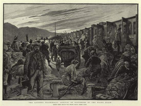 The Lourdes Pilgrimage, Arrival of Sufferers by the Night Train-Henri Lanos-Giclee Print