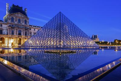 The Louvre Pyramid and Palace Reflected in a Still Pool Within the Napoleon Courtyard at Twilight-Garry Ridsdale-Photographic Print