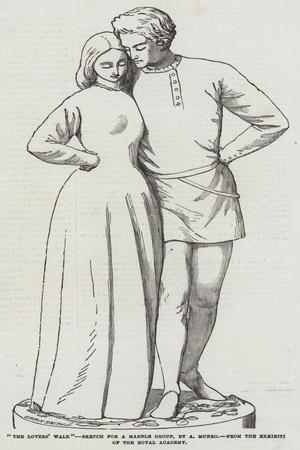 The Lovers' Walk, Sketch for a Marble Group, by a Munro, from the Exhibition of the Royal Academy--Giclee Print