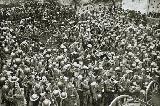 'The Loyal North Lancashire Regiment parading for the trenches', France, World War I, 1916-Unknown-Photographic Print