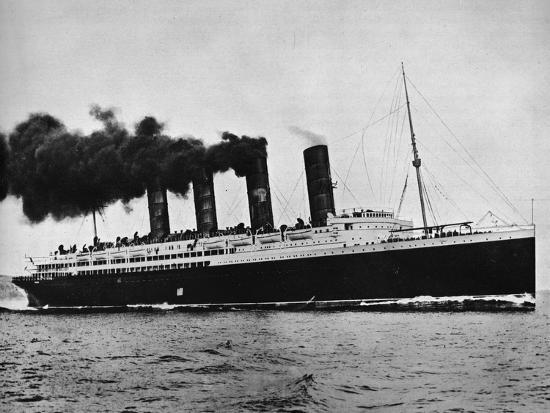 'The Lusitania at full speed', 1915-Unknown-Photographic Print