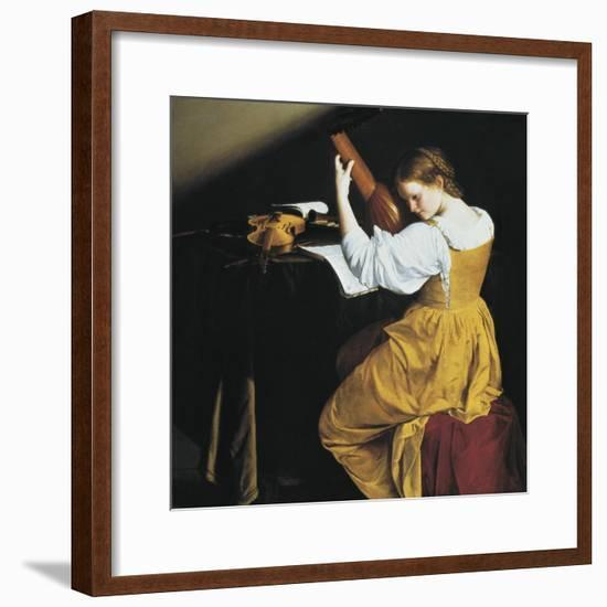 The Lute Player-Orazio Gentileschi-Framed Art Print