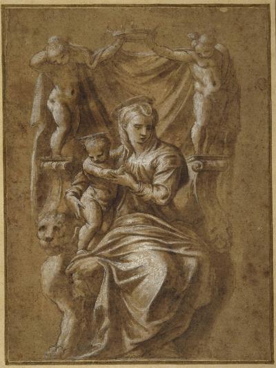 The Madonna and Child Enthroned- Polidoro da Caravaggio-Giclee Print