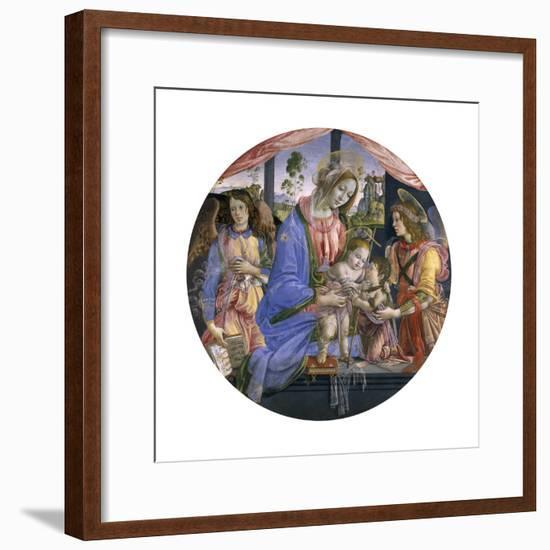 The Madonna and Child with the Infant St. John and Two Angels, Mid-1480s-Filippino Lippi-Framed Giclee Print