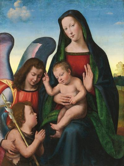 The Madonna and Child with the Young Saint John the Baptist and an Angel (Oil and Gold on Panel)- Albertinelli & Buigardini-Giclee Print