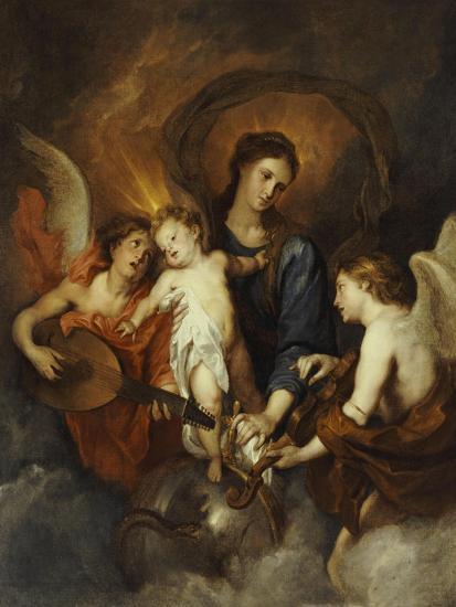 The Madonna and Child with Two Musical Angels-Sir Anthony Van Dyck-Giclee Print