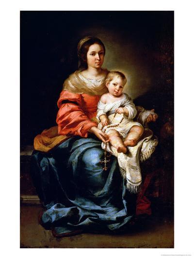 The Madonna of the Rosary-Bartolome Esteban Murillo-Giclee Print