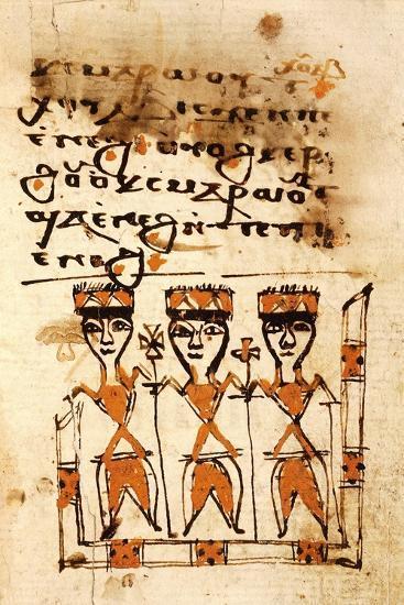 The Magi, Miniature from a Liturgical Parchment Book, Coptic Manuscript, 18th-19th Century--Giclee Print