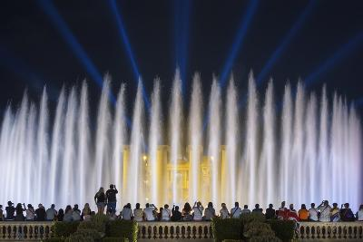 The Magic Fountain Light Show in Front of the National Palace, Barcelona.-Jon Hicks-Photographic Print