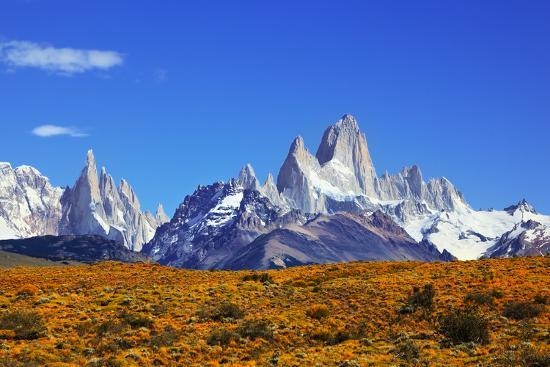 The Magnificent Mountain Range - Mount Fitzroy in Patagonia, Argentina. Summer Sunny Noon-kavram-Photographic Print