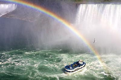 The Maid of the Mist Tourist Boat Under a Double Rainbow at Niagara Falls-Charles Kogod-Photographic Print