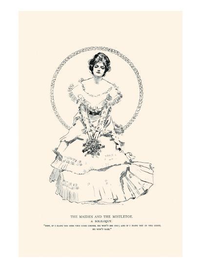 The Maiden And the Mistletoe-Charles Dana Gibson-Art Print