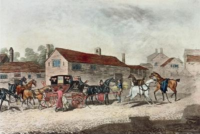 The Mail Coach Changing Horses, Engraved by R. Havell, 1815-James Pollard-Giclee Print
