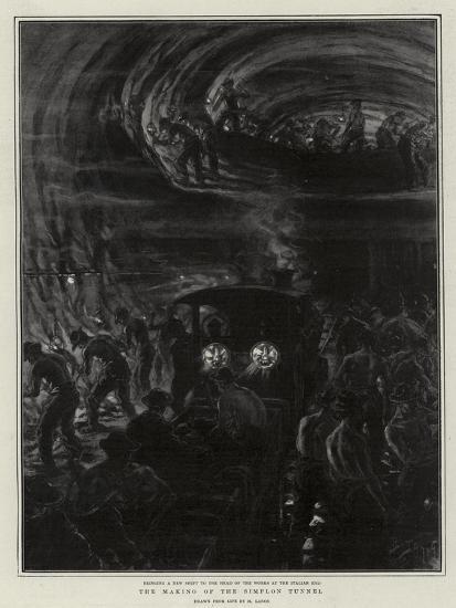 The Making of the Simplon Tunnel-Henri Lanos-Giclee Print