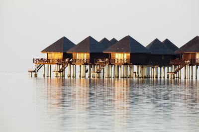 The Maldives, Sea, Lagoon, Water Bungalows, Evening Light-Frank Lukasseck-Photographic Print