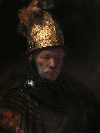 Man with Helmet  by Rembrandt Giclee Fine Art Print Repro on Canvas