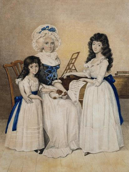 The Mansion of Peace: Mrs Campell and Her Two Daughters Beside a Pianoforte-Henry Edridge-Giclee Print