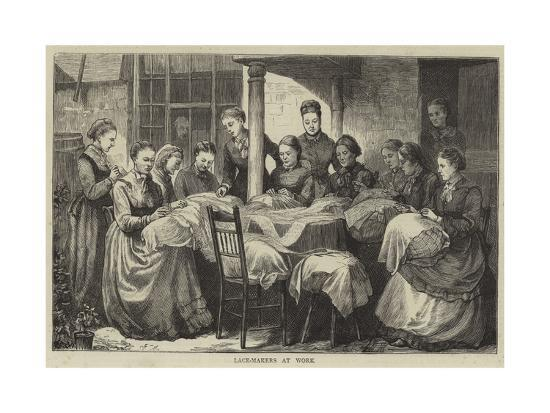 The Manufacture of Honiton Lace--Giclee Print