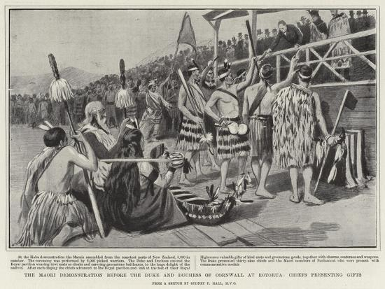 The Maori Demonstration before the Duke and Duchess of Cornwall at Rotorua, Chiefs Presenting Gifts-Sydney Prior Hall-Giclee Print