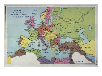 The Map of Europe on the Eve of World War One--Giclee Print