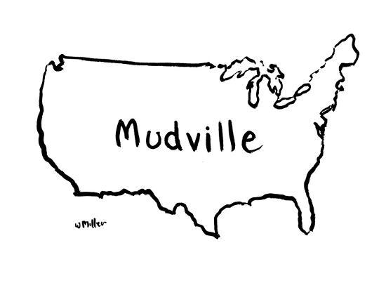 The Map Of The Us That Says Mudville New Yorker Cartoon - Cartoon-map-of-the-us