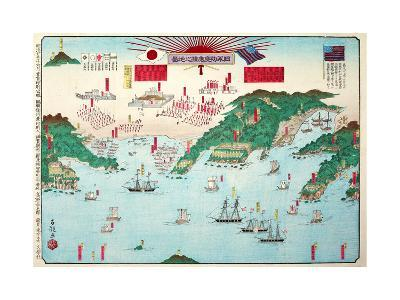 The Map Showing the First Interview Between the Japanese and Americans at Kurehama 1853-Shusai Kokuo-Giclee Print
