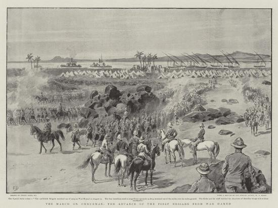 The March on Omdurman, the Advance of the First Brigade from Wad Hamed-Frank Dadd-Giclee Print