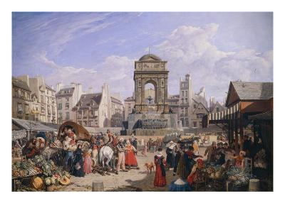The Market and the Fountain of Innocents, 1822-John James Chalon-Giclee Print