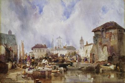 The Market on the Quay, Bruges-Samuel Austin-Giclee Print