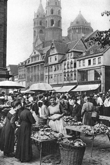 The Market Place at Worms Cathedral, Worms, Germany, 1922-Donald Mcleish-Giclee Print