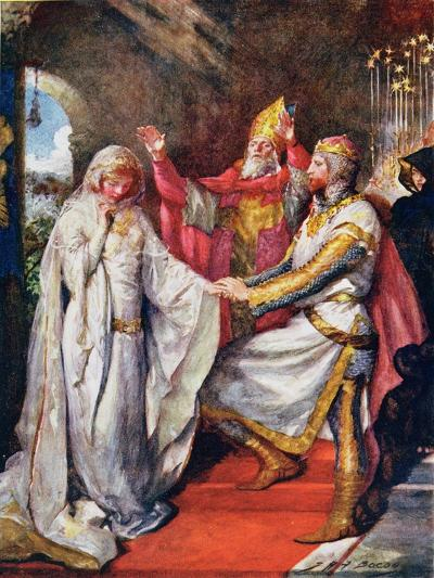 The Marriage of King Arthur and Queen Guinevere, Illustration for 'Children's Stories from…-John Henry Frederick Bacon-Giclee Print