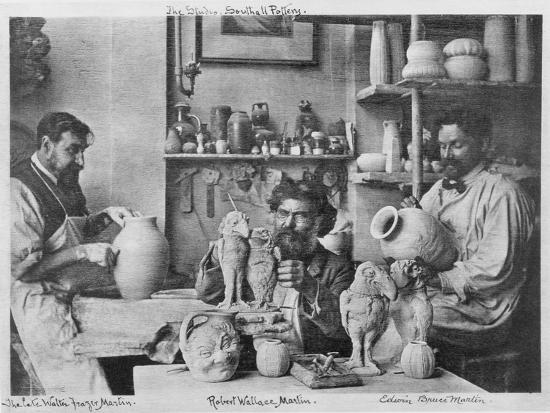 The Martin Brothers in the Studio at the Southall Pottery (B/W Photo)-English Photographer-Giclee Print