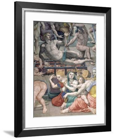 The Martyrdom of St. Lawrence, Detail of St. Lawrence on the Gridiron-Agnolo Bronzino-Framed Giclee Print