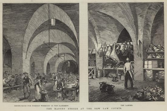 The Masons' Strike at the New Law Courts--Giclee Print