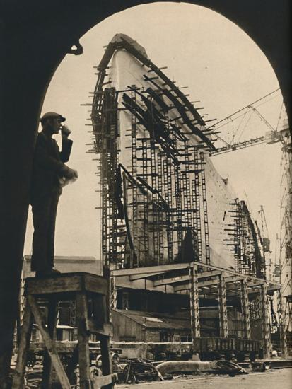 'The Massive Hull, partly placed', 1930-1934, (1936)-Unknown-Photographic Print