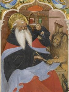 Saint Jerome Extracting a Thorn from a Lion's Paw Ms 106, 1425-50 by The Master of the Murano Gradual