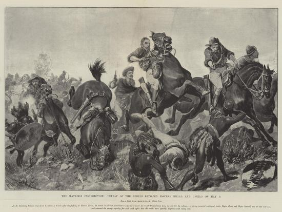 The Matabili Insurrection, Defeat of the Rebels Between Movene Kraal and Gwelo on 9 May-Richard Caton Woodville II-Giclee Print