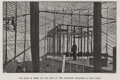 The Maze of Wires on the Roof of the Telephone Exchange in Lime Street--Photographic Print