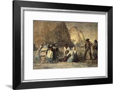 The Meal of the Harvesters-Jean-François Millet-Framed Giclee Print