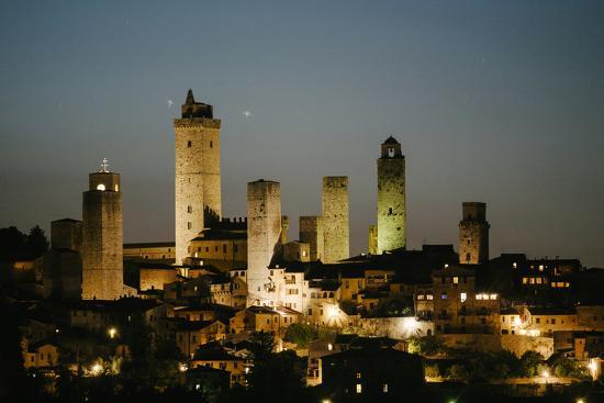 The Medieval Town of San Gimignano at Night-Matt Propert-Photographic Print