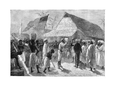 The Meeting Between Henry Morton Stanley and Dr David Livingstone, Africa, 19th Century Giclee Print by |